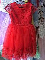 Платье детское нарядное новогоднее Марианна красное 5-6 лет