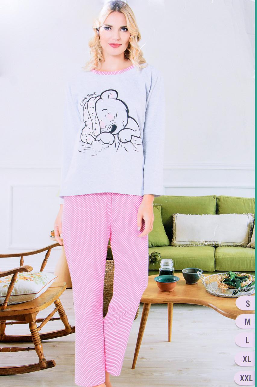 Хлопковая пижама женская Спящий мишка Asma Турция SDK-1036peach