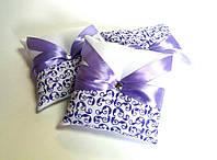 Копия Подушечка для обручальных колец фиолетовая. Ручная работа: роспись