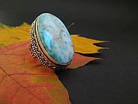 Серебряное кольцо с ларимаром 18,5  размер в античном стиле