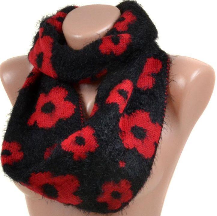 Жіночий шарф-хомут 27 см ширина M0449 black Чорний