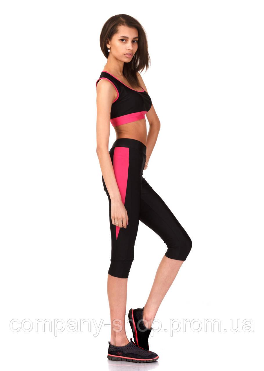 Женские спортивные бриджи из бифлекса. Модель КА021_черный с малиновым.