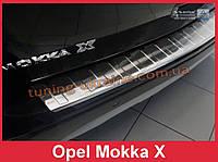 Накладка на задний бампер с загибом и ребрами на Opel Mokka X после рест 2016