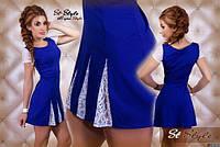 Платье из дайвинга с кружевом синий цвет, длина 80см код 55/41