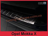 Накладка на задний бампер с загибом и ребрами на Opel Mokka X после рест 2016 черная