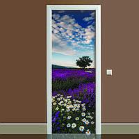 Наклейка на дверь Лаванда 02 (виниловая наклейка, самоклейка, оклеить дверь)