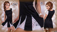 Платье из дайвинга с кружевом черный цвет, длина 80см код 56/41