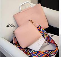 Стильная городская сумка с красочным поясом + клатч 2в1, фото 2