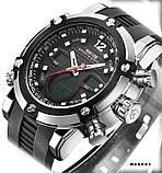 Годинники наручні Weide WH5205 чоловічі, каучуковий ремінець, чорний циферблат, фото 2