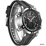 Годинники наручні Weide WH5205 чоловічі, каучуковий ремінець, чорний циферблат, фото 3