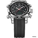 Годинники наручні Weide WH5205 чоловічі, каучуковий ремінець, чорний циферблат, фото 4
