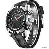 Годинники наручні Weide WH5205 чоловічі, каучуковий ремінець, чорний циферблат, фото 5