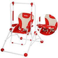 Качели Q01-3  со столиком,трансф.в стул, рем.безоп.3-х точ,чехол съемн,красн,в кор,58-10-64,5см