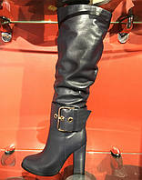 Зимние сапоги на высоком каблуке с натуральной кожи синего цвета, внутри цигейка