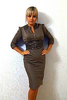 Платье приталенное  с поясом, бежевое и серое код 62/41