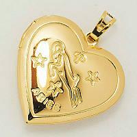Кулон под фото сердечко позолота ХР