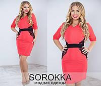 Платье приталенное  с кружевом по бокам, большие размеры код 64/41