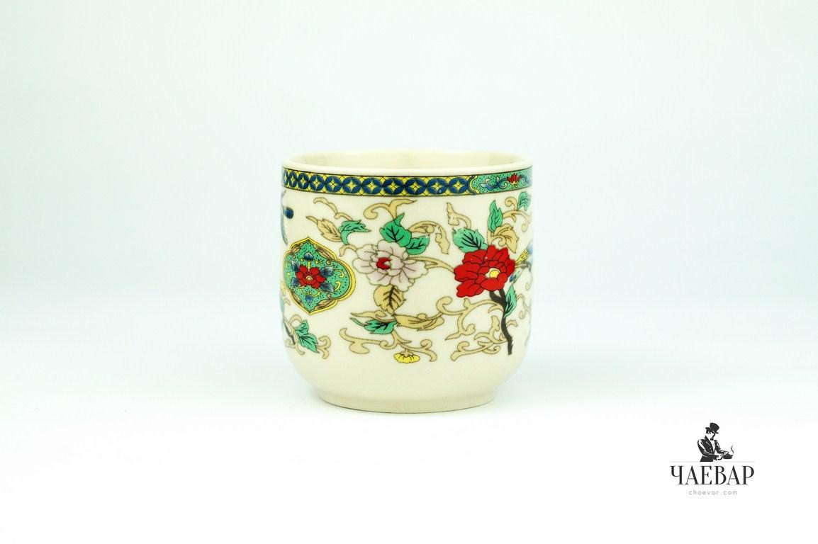 """Пиала для чая белая, ручная роспись """"Цветочный узор"""", 100мл"""