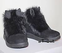 Теплые ботиночки с ушками и мехом кролика 38, Черный