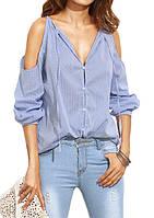 Женская хлопковая рубашка в голубую тонкую полоску с разрезами на плечах