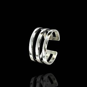 Серебряное фаланговое кольцо, 3 полосы