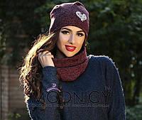 Женский тёплый набор шапка и шарф