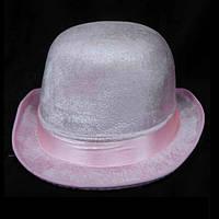 Шляпа-котелок розовая