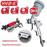 HVLP II Профессиональный краскораспылитель 1.3мм, верхний пластиковый бачок 600 мл Digital, фото 3