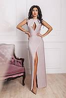 Вечернее длинное платье трикотажное с люрексом и вырезом
