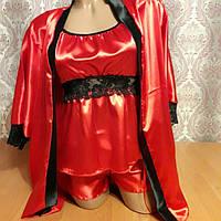 Атласная пижама  (тройка)