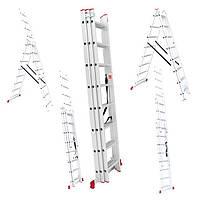 Лестница алюминиевая 3-х секционная универсальная раскладная 3*12 ступ. 7.89м Intertool LT-0312