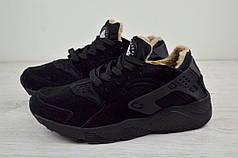Женские ботинки низкие Nike Air Huarache на меху черные топ реплика