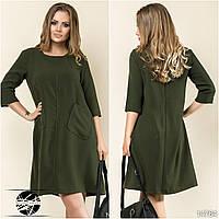 Женское платье свободного кроя цвета хаки с карманами по бокам. Модель 14764, размеры 48-54