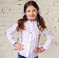 """Блузка - вышиванка для девочки """"Школьная"""" на рост от 116 до 146 см , фото 1"""
