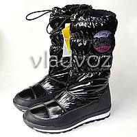 Модные подростковые дутики на зиму для девочки термо сапоги черные 38р. Tom.M