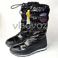 Модные подростковые дутики на зиму для девочки термо сапоги черные 35р. Tom.M