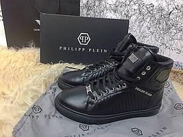 Мужские кеды Philipp Plein High Top Pie Black , Копия
