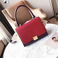 Модная вместительная сумка в стиле Celine Trapeze красного цвета