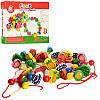 Шнуровка бусы фрукты, овощи, ягоды деревянная игрушка в коробке, в наборе шнурки для нанизывания