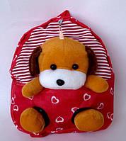 """Рюкзак с игрушкой детский для девочки """" Собачка""""  красного цвета"""