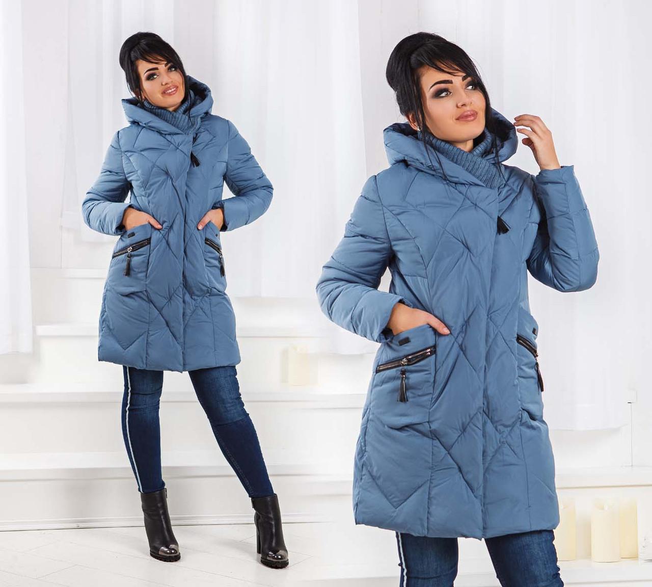 Женское зимнее пальто холлофайбер в больших размерах 01 в расцветках