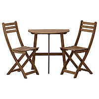 ASKHOLMEN, стол садовый и 2 раскладных кресла