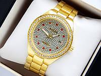 Женские кварцевые наручные часы Rolex, золотистого цвета, с красными стразами, фото 1