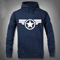 "Толстовка кенгуру ""Капитан Америка"" светло-синяя"