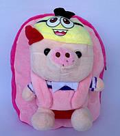 """Рюкзак с игрушкой детский для девочки """" Свинка """"  розового цвета"""