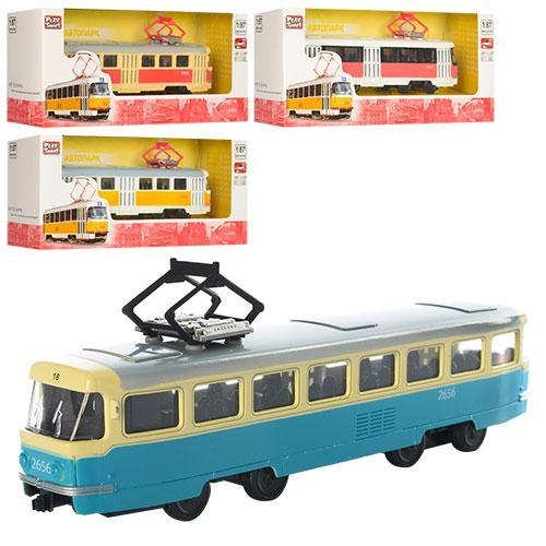 Трамвай 6411ABCD  16,5см, жел, инер-й, 1:54, 4 вида,в кор-ке,19,5-5-7,5см