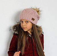 Детская шапка с меховым помпоном