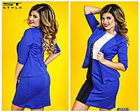 Платье с пиджаком комбинированное и украшенное кружевом, большие размеры 48, 50,52, 54 код 66/41