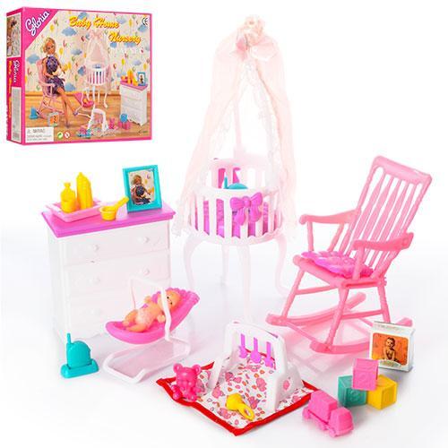Мебель 9929  трюмо, кресло, детская кроватка, пупс 10см, в кор-ке, 25-20-6см
