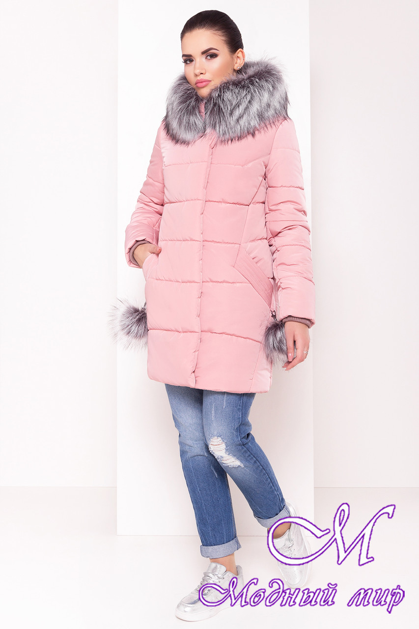Женская розовая зимняя куртка (р. S, M, L) арт. Ари 3442 - 17539